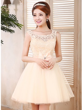 A-Line Lace Bowknot Scoop Neckline Straps Short 16/Homecoming Dress & vintage style Homecoming Dresses