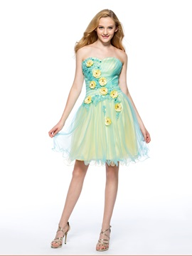 A-Line Flowers Appliques Homecoming Dress