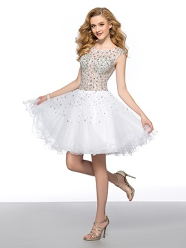 Stunning A-Line Round Neck Beadings Sequins Short Cockatil Dress & Homecoming Dresses under 300