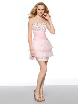 Classy Sweetheart Beading Sequins Column Lace-up Short Homecoming Dress & fashion Homecoming Dresses