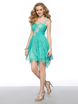 Cool One-Shoulder Appliques Beading Short A-Line Homecoming Dress & casual Homecoming Dresses