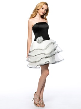 Cool A-Line Strapless Flower Tiered Short Homecoming Dress & Homecoming Dresses under 500