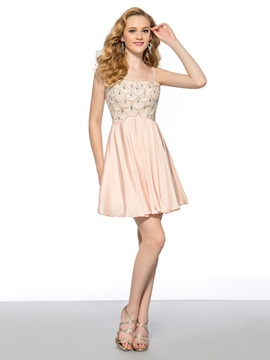 A-Line Spaghetti Straps Crystal Beading Short Homecoming/Prom Dress