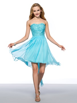 Enchanting A-Line heart Appliques Asymmetric Homecoming/Cocktail Dress & modern Homecoming Dresses