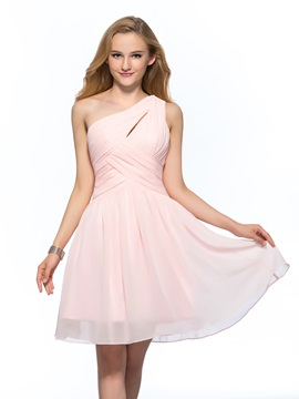 Simple Cheap One-Shoulder Ruched A-Line Short Homecoming Dress & Homecoming Dresses under 500