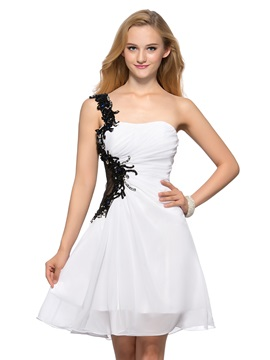 Cool A-Line One-Shoulder Appliques Sequins Beading Short Homecoming Dress & affordable Homecoming Dresses