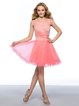 Great A-Line Pearls Beading Tulle Neckline Short Homecoming Dress & discount Homecoming Dresses