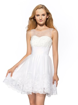 A-Line Scoop Beading Appliques Homecoming Dress & Homecoming Dresses from china