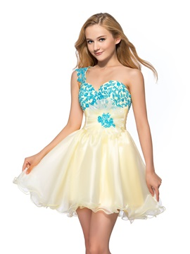 Smart One-Shoulder Appliques Sequins A-Line Short Homecoming/Sweet 16 Dress & vintage style Homecoming Dresses