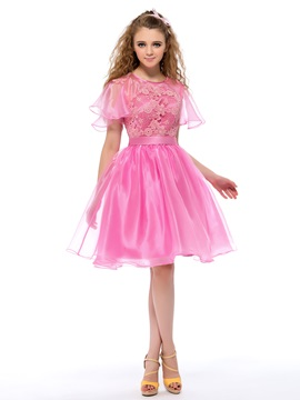 Nice Lace Short Sleeves A-Line Short Homecoming/Sweet 16 Dress & Homecoming Dresses under 500