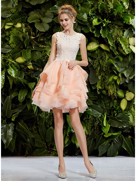 Cute Scoop Neck Lace Tiered Button A-Line Short Prom Dress & Homecoming Dresses for less