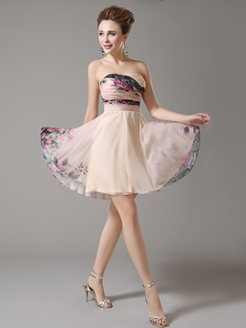 Sweetheart Pleats Printed A-Line Homecoming Dress