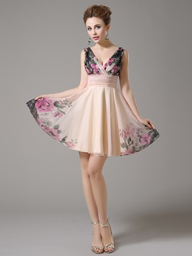 Pretty V-Neck A-Line Pleats Zipper-up Short Homecoming Dress & colorful Homecoming Dresses