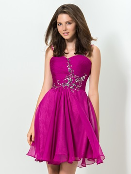 Modern Sweetheart Straps Beaded Short Homecoming Dress & Homecoming Dresses for sale