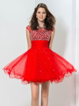 Shiny Bateau Neck Cap Sleeve Sequined Backless Short Red Homecoming Dress & Homecoming Dresses from china