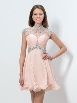 Stunning High Neck Sequined Crystal A-Line Backless Homecoming Dress & vintage Homecoming Dresses