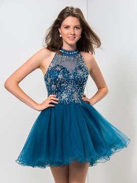 Modern Backless Jewel Neck Beaded A-Line Mini Homecoming Dress & attractive Homecoming Dresses