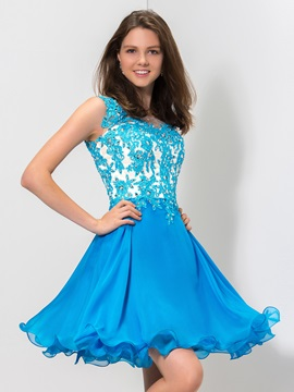 Chic Scoop Neck Straps Appliques Sequined A-Line Short Royal Blue Homecoming Dress & Homecoming Dresses for sale