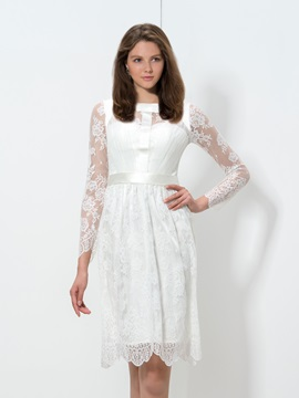Simple Square Neckline Long Sleeve Knee-Length Lace Homecoming Dress & petite Homecoming Dresses