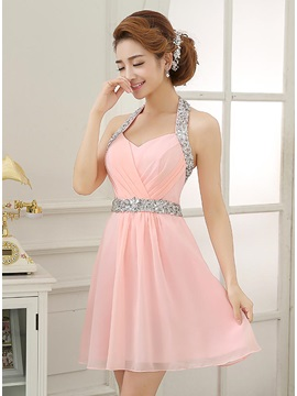 Hot Sale Halter Beading Sequins Short Homecoming Dress