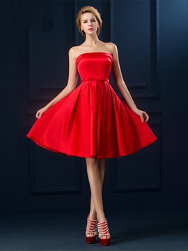 Simple Strapless A-Line Bowknot A-Line Knee-Length Homecoming Dress & Homecoming Dresses on sale