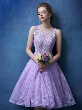 Dramatic Scoop Neck Appliques Lace-up Knee-Length Lace Homecoming Dress & fairytale Homecoming Dresses
