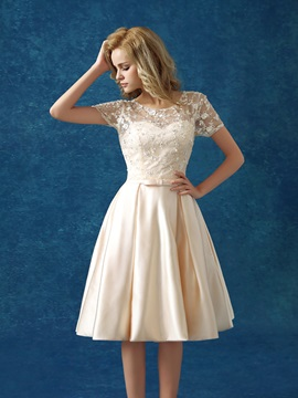 Casual Scoop Neck Short Sleeve Bowknot Lace Knee-Length Homecoming Dress & amazing Homecoming Dresses