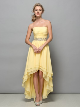Chic Strapless Tiered Sequins High Low Homecoming Dress