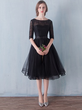 Half Sleeves Knee-Length Lace Black Cocktail Dress & cheap Homecoming Dresses