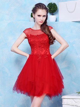 Illusion Neck Cap Sleeves Appliques Red Homecoming Dress & Homecoming Dresses online