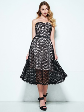 Sweetheart A-Line Tea-Length Lace Homecoming Dress & affordable Homecoming Dresses
