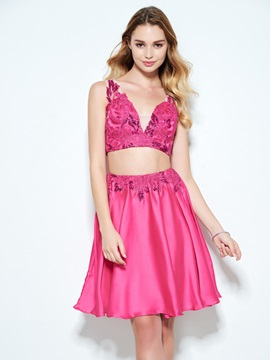 V-Neck Sequins Appliques Two Piece Homecoming Dress