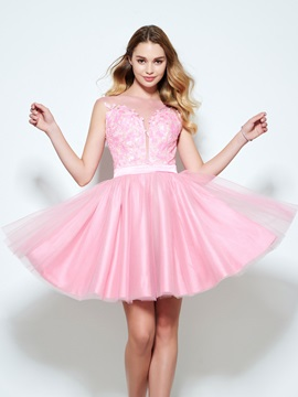 Sheer Neck Sequins Appliques Short Homecoming Dress & Homecoming Dresses from china