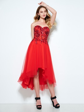 Amazing Sweetheart Sequins High Low Homecoming Dress