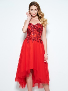 Amazing Sweetheart Sequins High Low Red Homecoming Dress