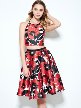 Fashionable Halter Two Piece Print Homecoming Dress