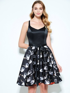 Straps Sashes Short Print Homecoming Dress & quality Homecoming Dresses
