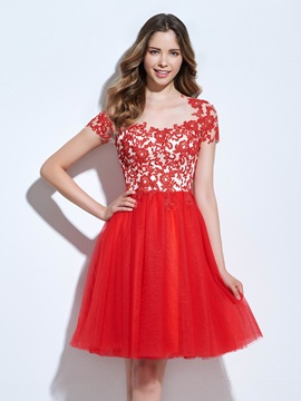 Short Sleeves Appliques Red Homecoming Dress & Homecoming Dresses under 500