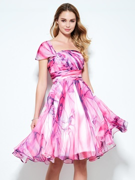 Modern One Shoulder Pleats Printing Homecoming Dress