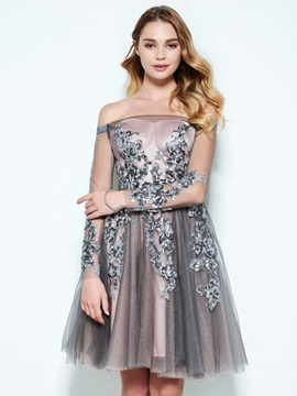 Off the Shoulder Button Sequins Appliques Homecoming Dress