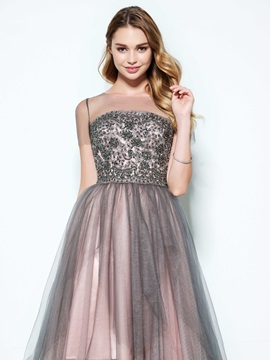 Scoop Short Sleeves Appliques Beading Homecoming Dress