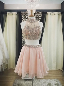 Modern High Neck Beading Two Piece Homecoming Dress