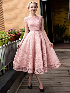 Fancy Bateau Neck Tea-Length Lace Homecoming Dress