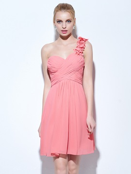 One Shoulder Pleats Short Homecoming Dress & Homecoming Dresses from china