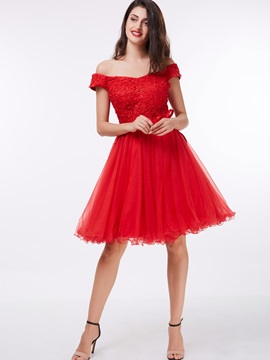 Off the Shoulder Appliuqes Sashes Lace-Up Homecoming Dress