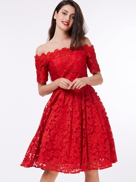 Off the Shoulder Short Sleeves Lace Homeocming Dress