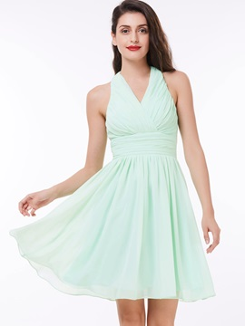 Simple Halter Pleats High Waist Homecoming Dress