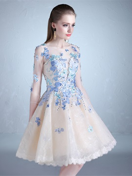 A-Line Half Sleeves Beading Lace Knee-Length Prom Dress