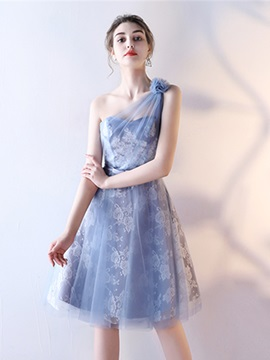 Sweet One-Shoulder Bowknot Lace Sashes A-Line Knee-Length Homecoming Dress & colored Homecoming Dresses