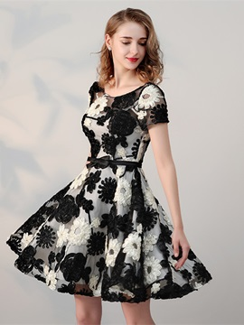 Elegant Scoop A-Line Cap Sleeves Bowknot Sashes Flowers Mini Homecoming Dress & cheap Homecoming Dresses